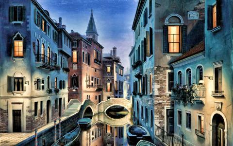 威尼斯绘画形象。壁纸