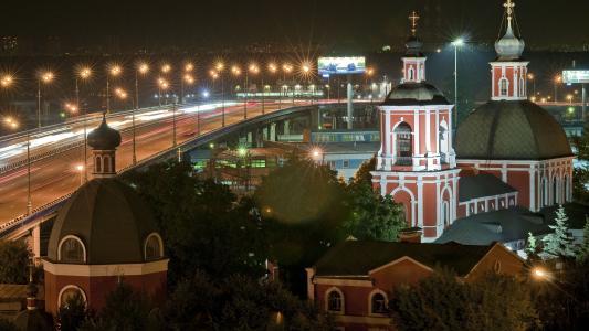 莫斯科,俄罗斯,城市之夜,教堂,灯光壁纸