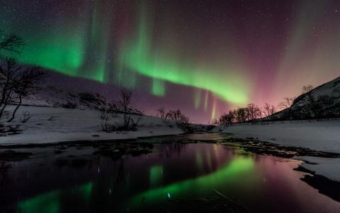 极光北极光北极光晚上绿色星星雪冬天河倒影高清壁纸