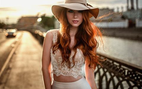 有魅力的女孩,帽子,衬衫,裙子,背景虚化,写真壁纸