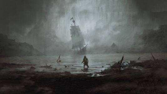 船舶航行帆船的人图高清壁纸