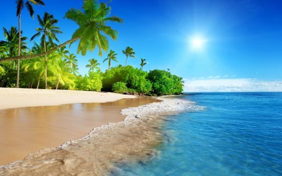 好看的蓝色海岸壁纸