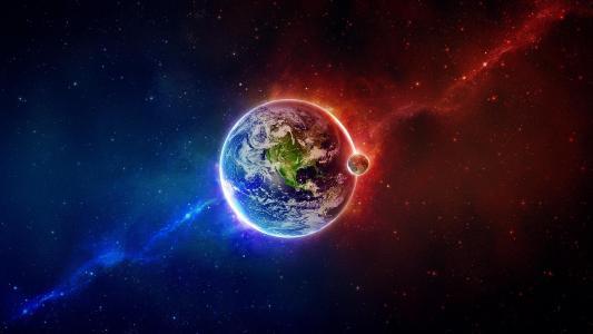 外层空间地球月红蓝高清壁纸