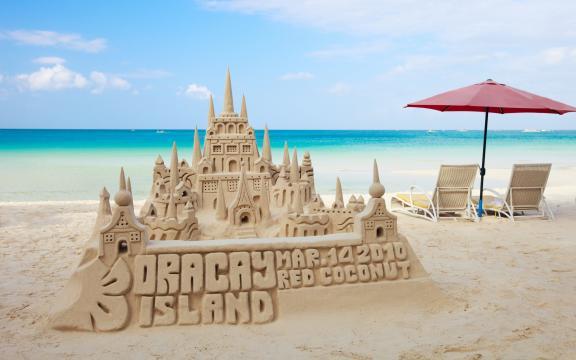 沙滩沙雕城堡建筑图片