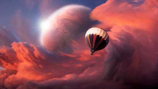 气球云星球高清壁纸