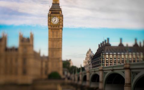 大本钟伦敦建筑物倾斜移轴塔高清壁纸