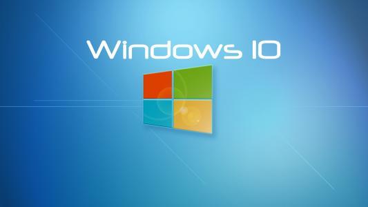 Windows 10系统,蓝色背景壁纸