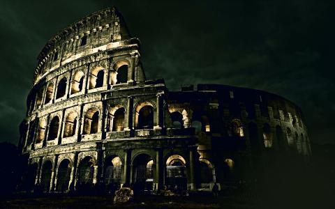 意大利夜建筑壁纸