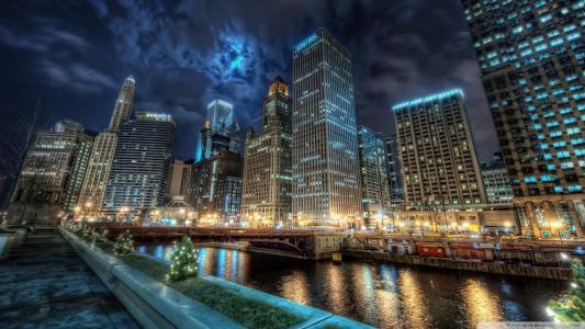 唐敦芝加哥夜间壁纸