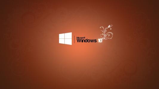 微软Windows 10标志,橙色背景壁纸