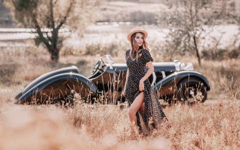 复古的风格,草,帽子,汽车壁纸的女孩