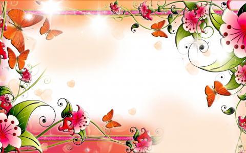春天的早晨蝴蝶壁纸