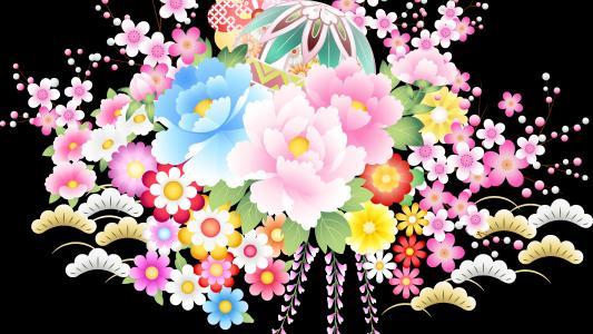 多彩花朵矢量壁纸