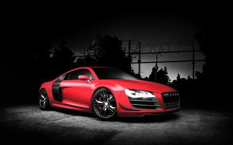 奥迪r8,汽车,着名品牌,红色,四环,深色背景壁纸