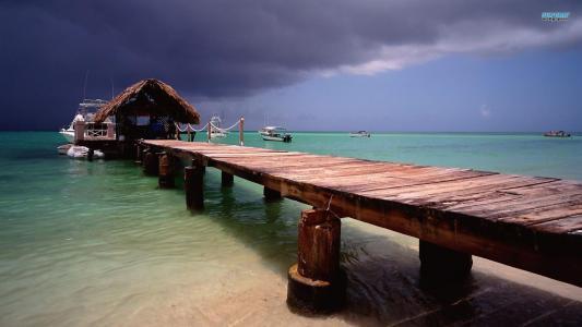 在鸽子点多巴哥壁纸的码头