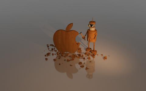 木苹果雕塑壁纸