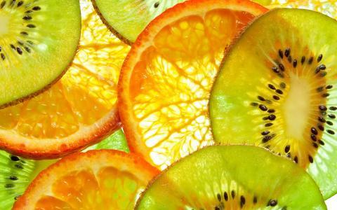 水果,猕猴桃和橘子壁纸