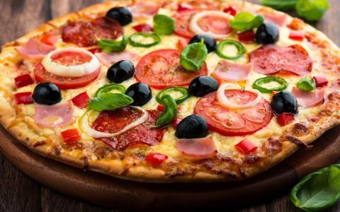 比萨,番茄,奶酪壁纸