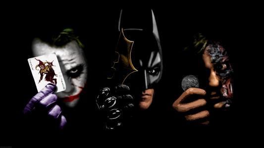 小丑蝙蝠侠两个脸蝙蝠侠黑暗小丑骑士高清壁纸