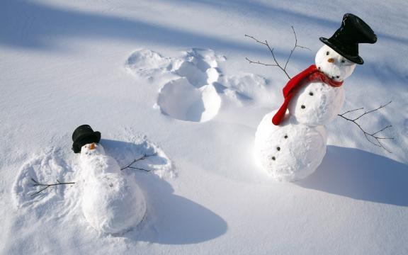 冬季雪人图片