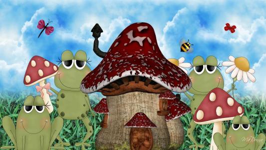 青蛙蘑菇屋壁纸