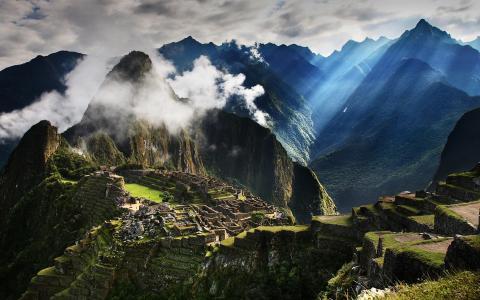 到秘鲁旅游,马丘比丘,山,雾,清晨,阳光壁纸