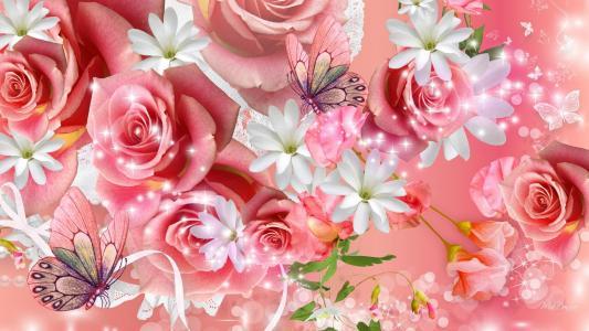 粉红玫瑰壁纸