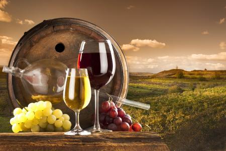 桶,葡萄,酒,葡萄园,云,眼镜