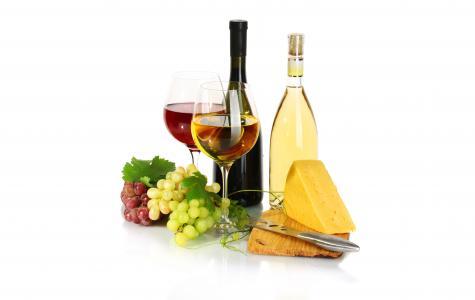 瓶,葡萄,奶酪,红色,酒,眼镜,白色