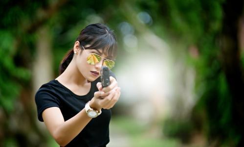 女孩,眼镜,图像,手枪