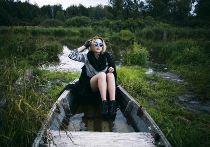 女孩,船,眼镜,性质