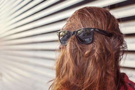 女孩,头发,眼镜,墙