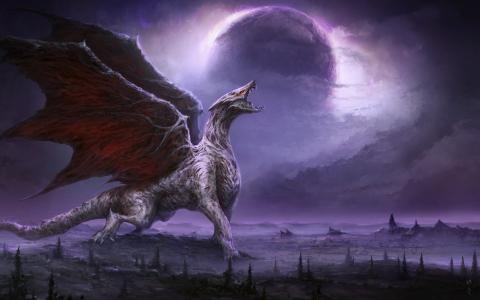幻想,龙,星球,龙,翅膀,巨人,艺术