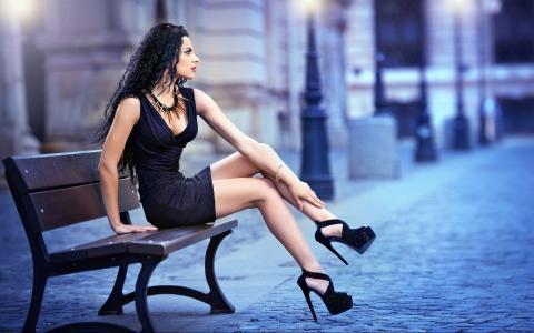 性感,模型,裙子,高跟鞋,腿,黑妞,女孩,女人