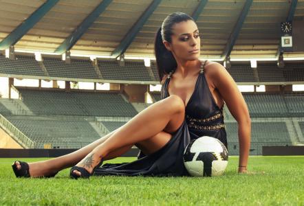 足球,足球,女孩与球,性感,体育场