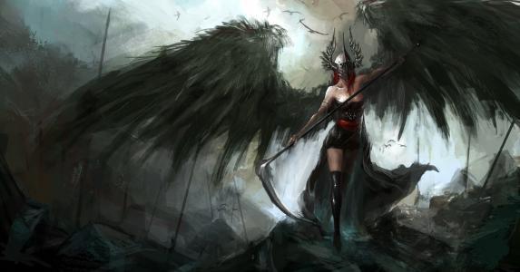 艺术,堕落,天使,翅膀,头盔,辫子,武器,鸟,阴沉