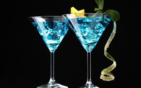 黑色背景,眼镜,鸡尾酒,蓝色