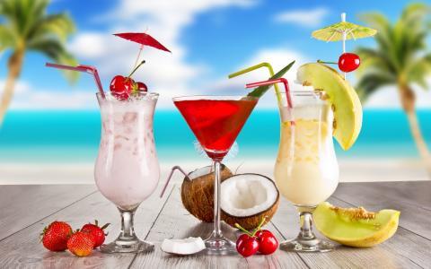 瓜,夏天,食物,水果,草莓,眼镜,鸡尾酒,椰子,鸡尾酒,樱桃