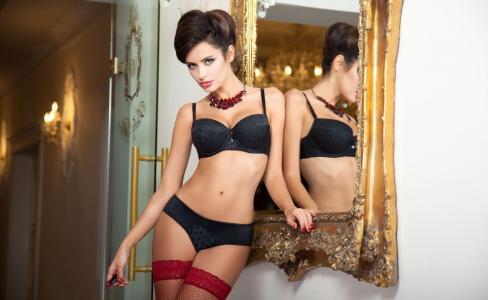 纳塔利娅siwiec,黑发,时装模特,性感,图,内衣,镜子,丝袜,珠宝首饰