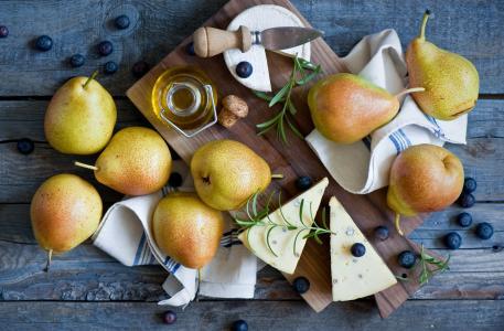 梨,奶酪,蓝莓,水果,浆果,餐巾,静物