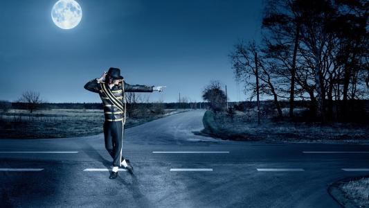 迈克尔杰克逊,歌手,音乐家,道路,月亮,迈克尔杰克逊