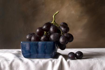 静物,水果,黑色,葡萄