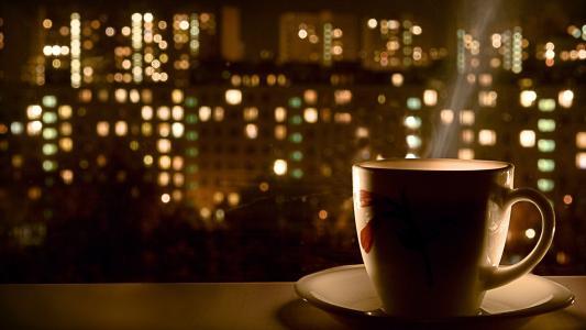 杯,香气,夜晚的城市