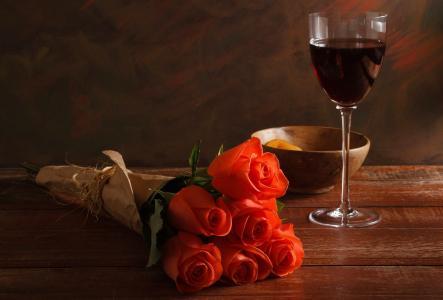 鲜花,花束,玻璃,酒