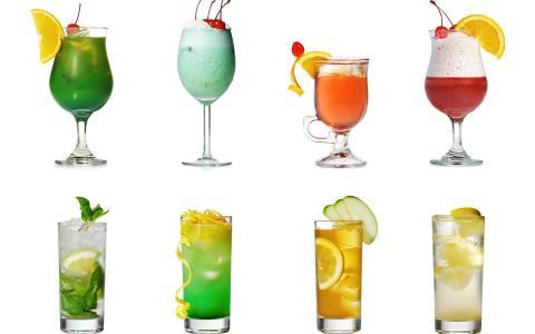 鸡尾酒,眼镜,薄荷,柠檬,橙,樱桃
