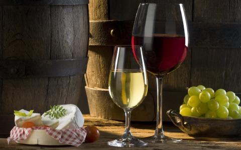 葡萄酒,红白色,眼镜,葡萄,奶酪,西红柿,桶
