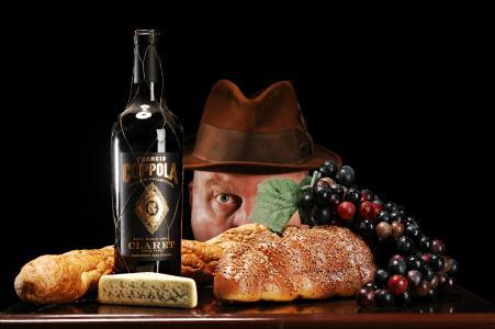 瓶,酒,面包,奶酪,葡萄,男人,帽子,眼睛