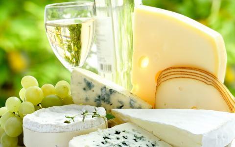 葡萄酒,白葡萄,奶酪,奶酪和模具