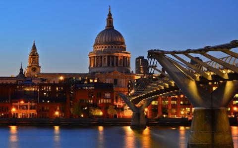 千年桥,泰晤士河,英格兰,暮光之城,圣保罗大教堂