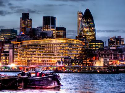 建筑物,夜晚的城市,英格兰,伦敦,伦敦,英格兰,泰晤士河,河流,船舶,堤防